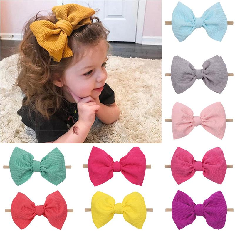 Kids Girls Solid Hairband 6 Inch Waffle Nylon Headband Baby Girls Party Hair Bows Headbands Boutique Hair Accessories 060521