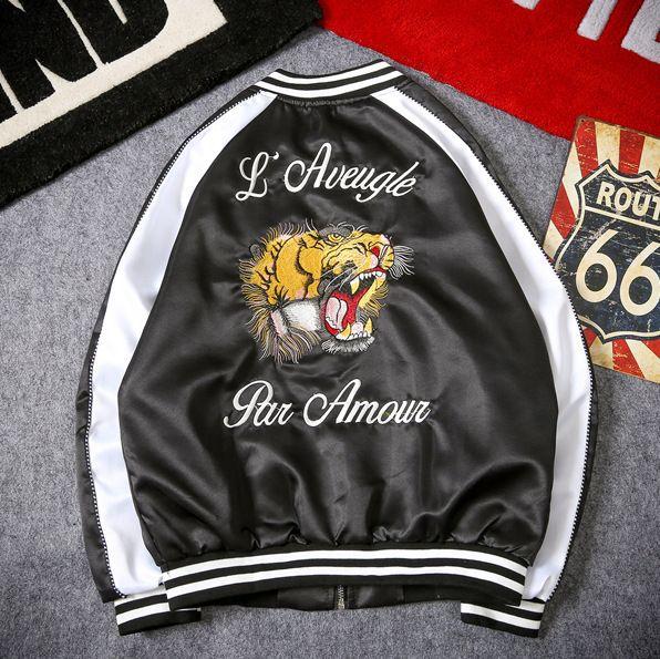 fa2bbad23 Drop Shipping Japanese Embroidery Tiger Bomber Coat Souvenir Baseball  Jacket Men Sukajan Yokosuka Souvenir Streetwear Hip Hop Coats For Guys Nice  ...