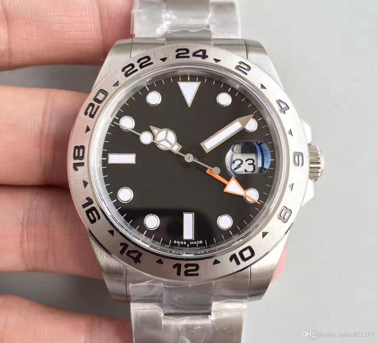 Высокое качество Tabie821219 Популярные часы ROL 316 Steel Black Sapphire 40 мм 316 216570 с циферблатом GMT Высокий браслет Exp Сталь Качество WAT IKEC