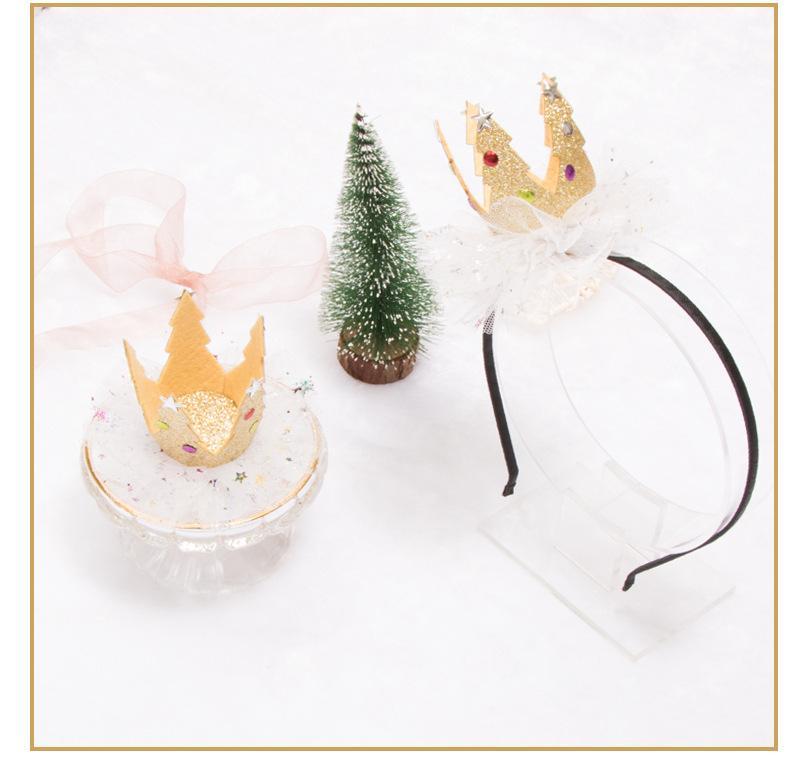 Árvore de Natal Barrettes miúdos atam Blink Gold Crown Cabelo Hoods Moda Infantil luxo acessórios de cabelo meninas Estrela Glitter 3D