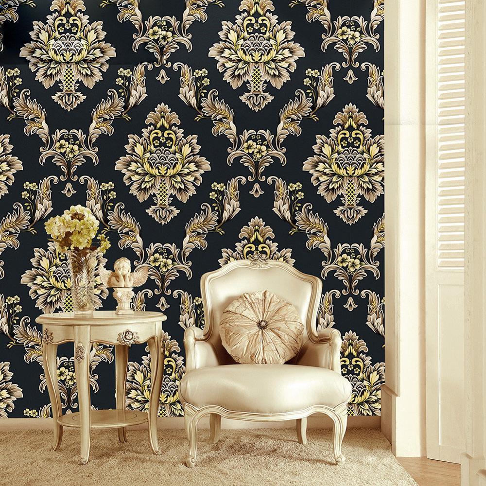 estéreo 3D Europea Damasco profundo fondo de pantalla en relieve flor de oro negro decoración de pared de la sala de la pared del hogar fondo hotel TV