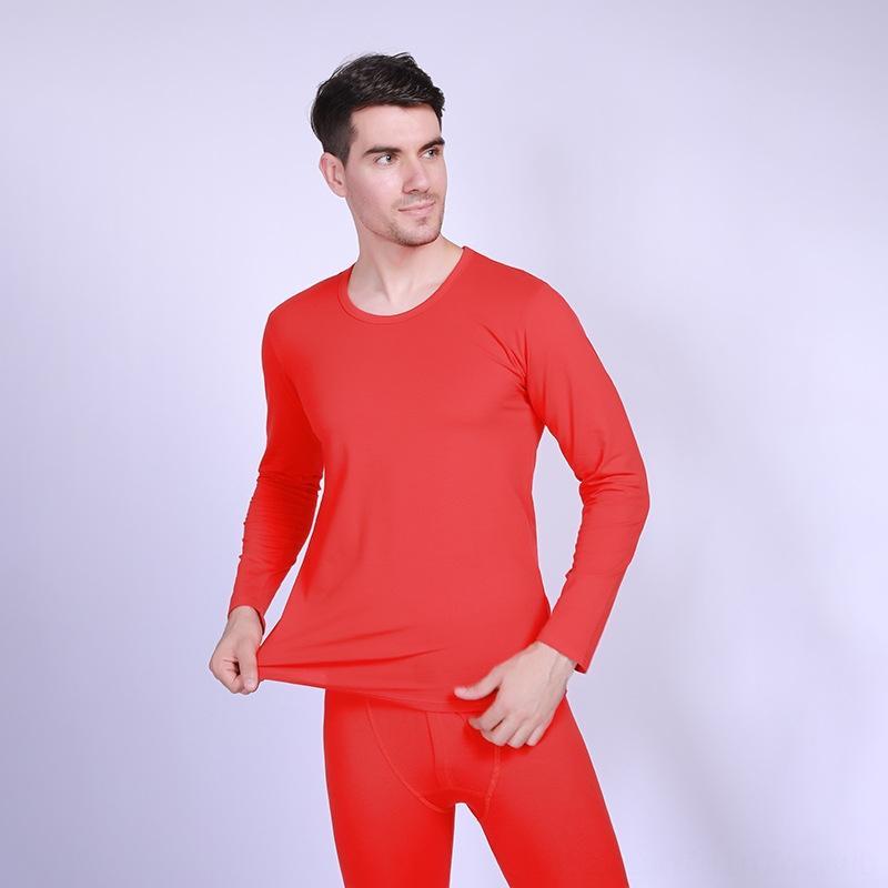 2020 мужского теплого комплект нижнего белья Lycra сплошного цвета круглого белье брюки костюм брюки костюм воротник красного женских осенние одежды Ей Ku набор