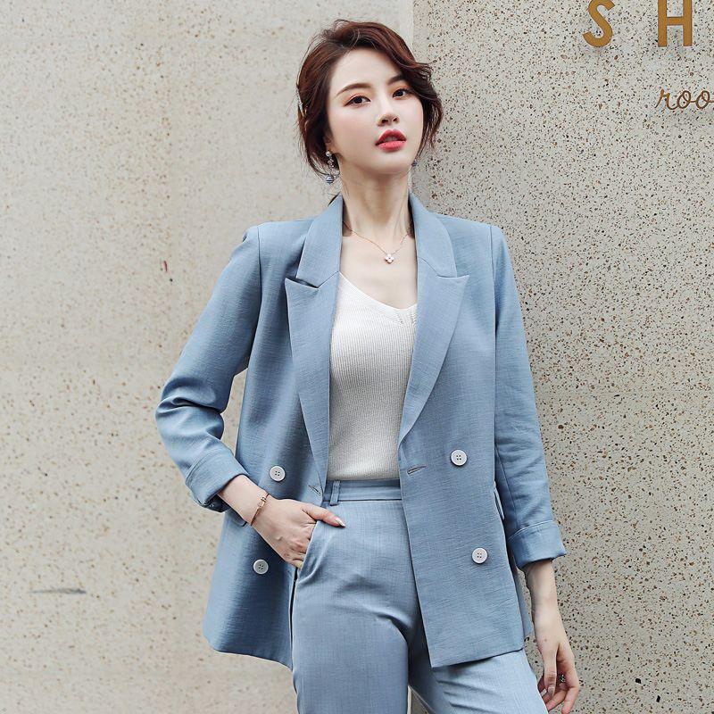 traje de otoño 2019 nueva moda temperamento elegante casual de color sólido de las mujeres Double-Breasted pequeños pantalones de traje de dos piezas