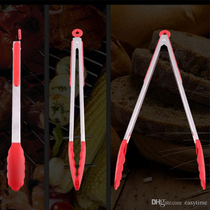 7/9/12/14/16 inch Heavy Duty Locking Stainless Steel Bbq Kitchen Tongs with Silicone Tips Non-Stick Cooking Ice Sugar Serving Tongs