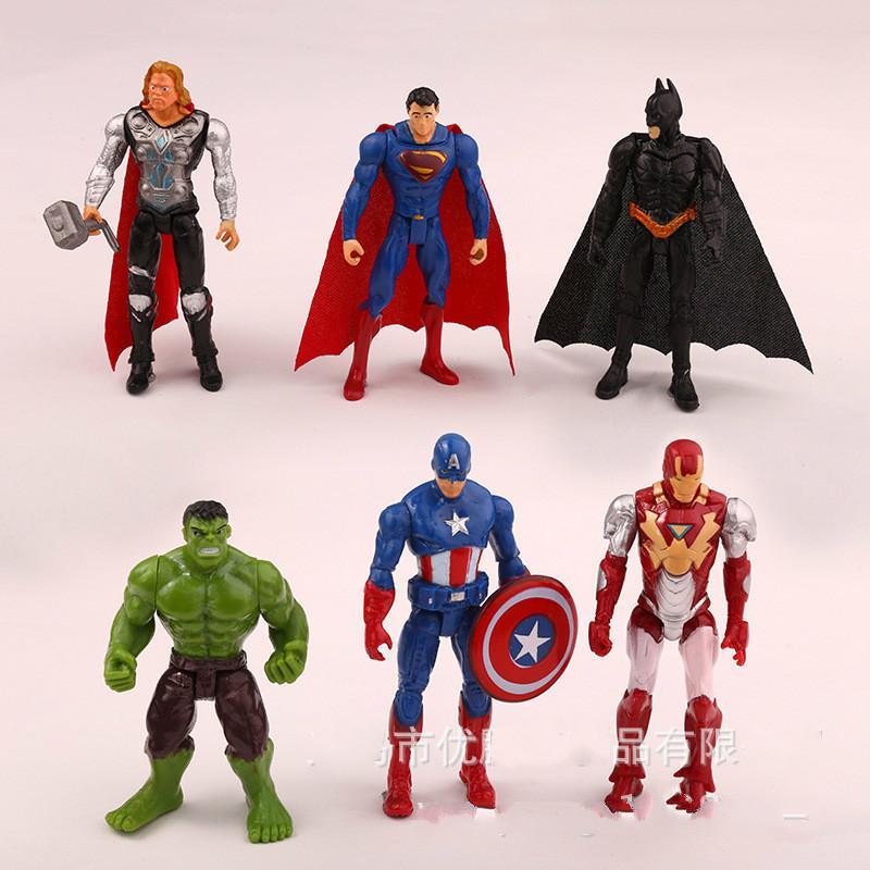 10.5cm Marvel Toys Набор фигурок Мстителей Супергерой Бэтмен Тор Халк Капитан Америка Фигурка Коллекционная модель Кукла
