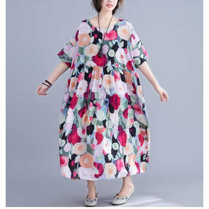 2019 sommer frauen gedruckt dress lose beiläufige große größe dress kurzarm lang