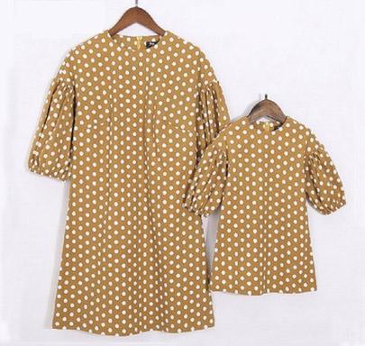 مطابقة Pudcoco المرأة والأسرة دوت مطبوعة اللباس نصف كم أزياء أمي بنات الأم وابنتها