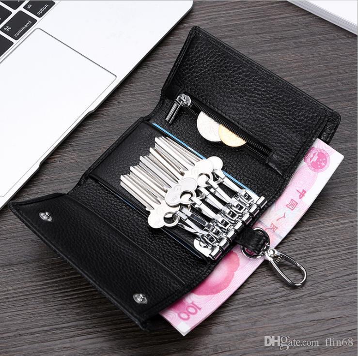 جلد الرجال خمر مفتاح محفظة متعددة الوظائف مفتاح يغطي جلد المفاتيح عملة محفظة للذكور