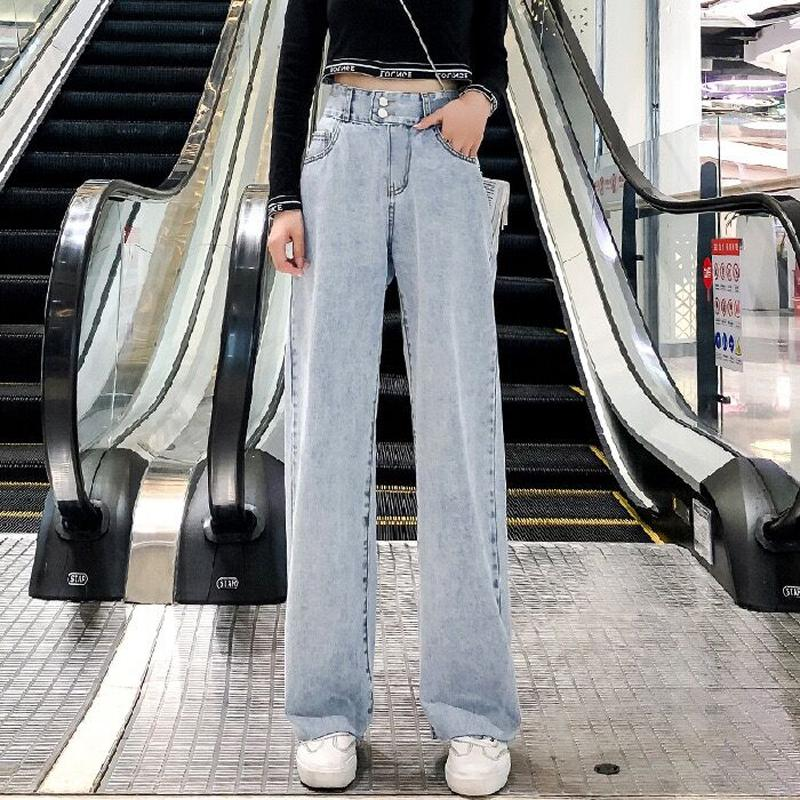 2020 Sommer-neue Hose mit hohen Hüfte Gerade lose Jeans für Frauen-koreanische Art-guter Qualität Denim