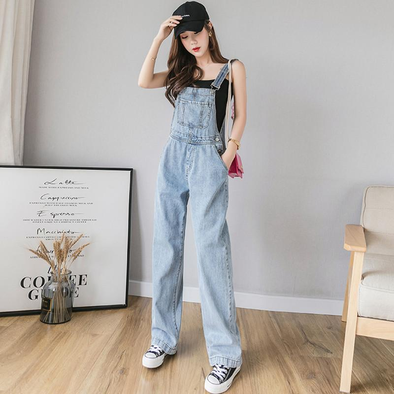 Été Denim Jumpsuit femmes Casual avant design Pocket Jeans Salopette barboteuses Ladies Wide Leg Tenues femme combinaison