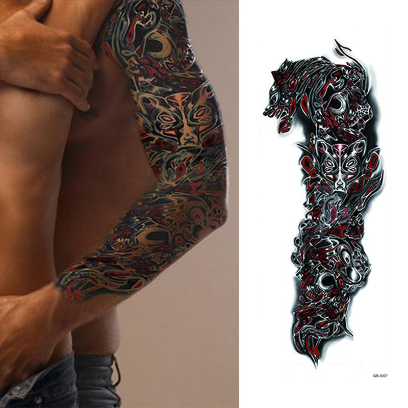 1 Parça Kurt Tasarım Geçici Bacak Vücut Sanatı Su Transferi Dövme Büyük Büyük Tam Çiçek Kol Dövme Etiket