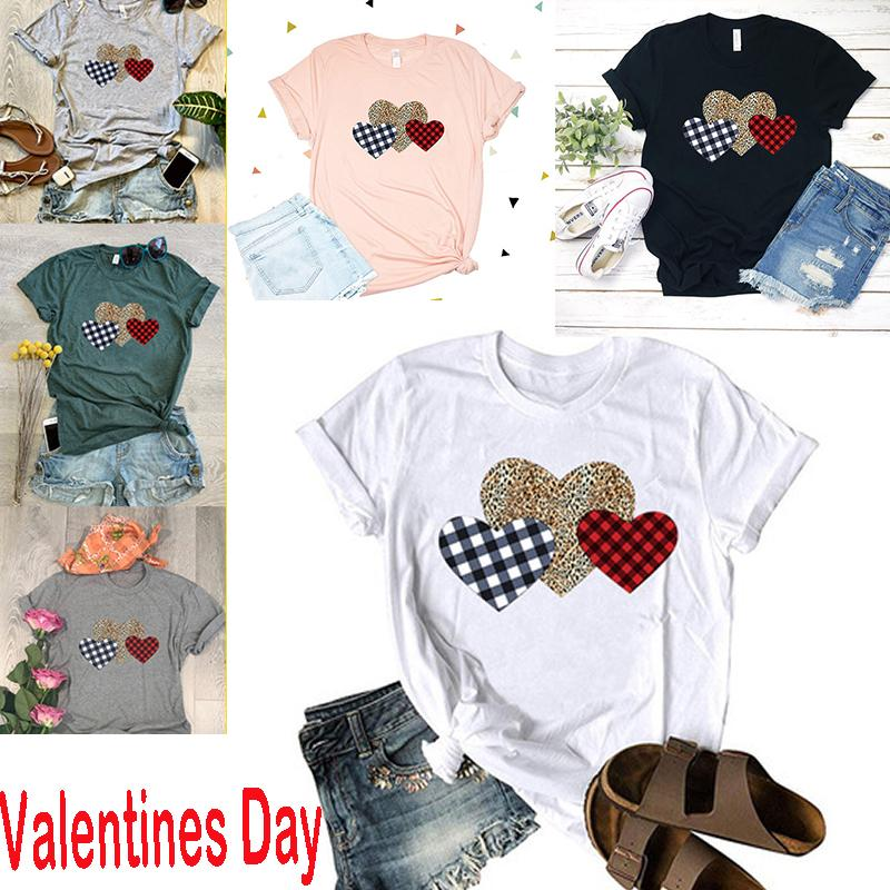 Valentines Day Comfy Womens Short Sleeve Round Neck Pattern Printed Blouses Tops T Shirt