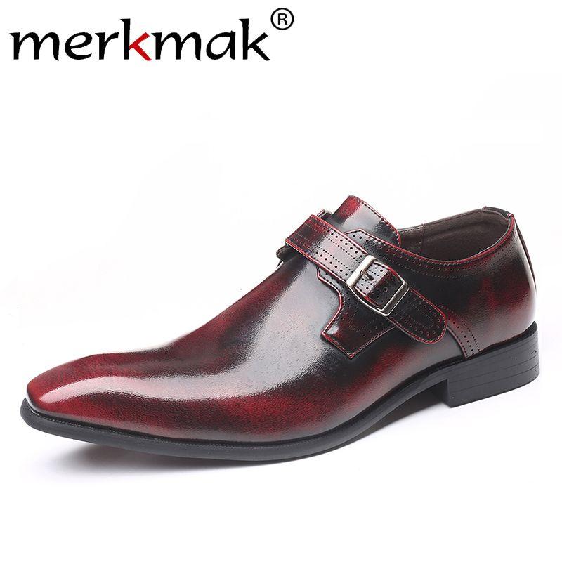 Merkmak 2019 Новых Мужской обуви Мода пряжка палец нога Остроконечной Формальная обувь дышащего платье большого размер венчание партии для мужчин