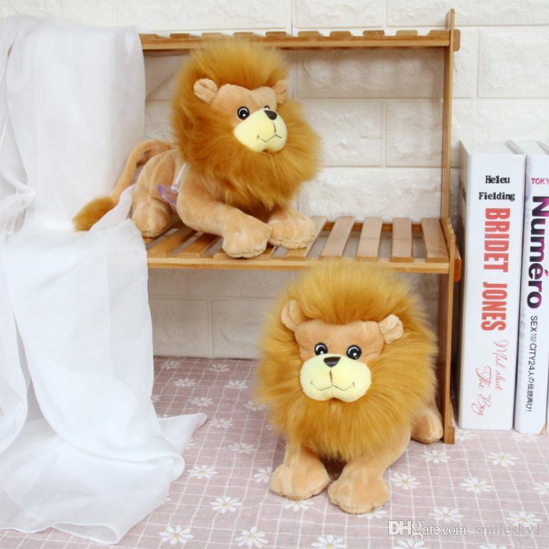 "Realista Lion bicho de pelúcia Plush Toys Forest Animals Detalhes Brown 8"""