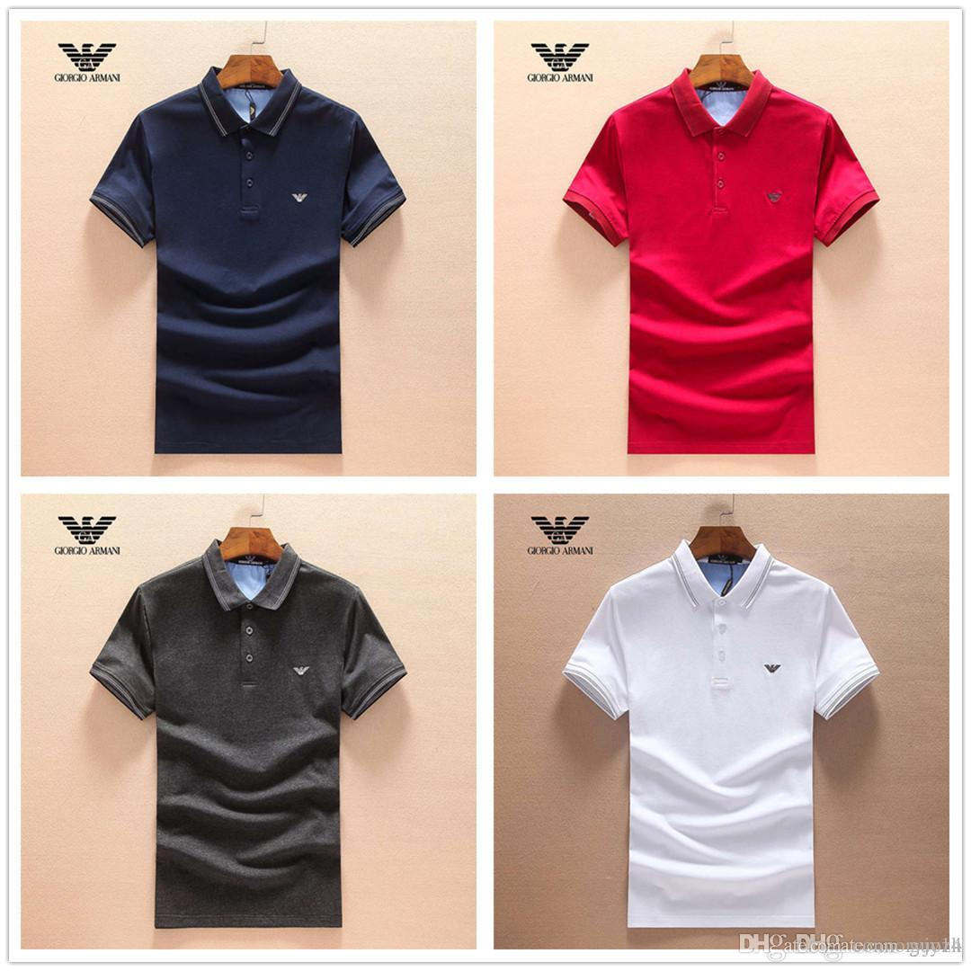 2018 mode herbst winter druck revers herren polo shirts marken 4 farben casual polo langarm polo männer schlank top größe 3xl