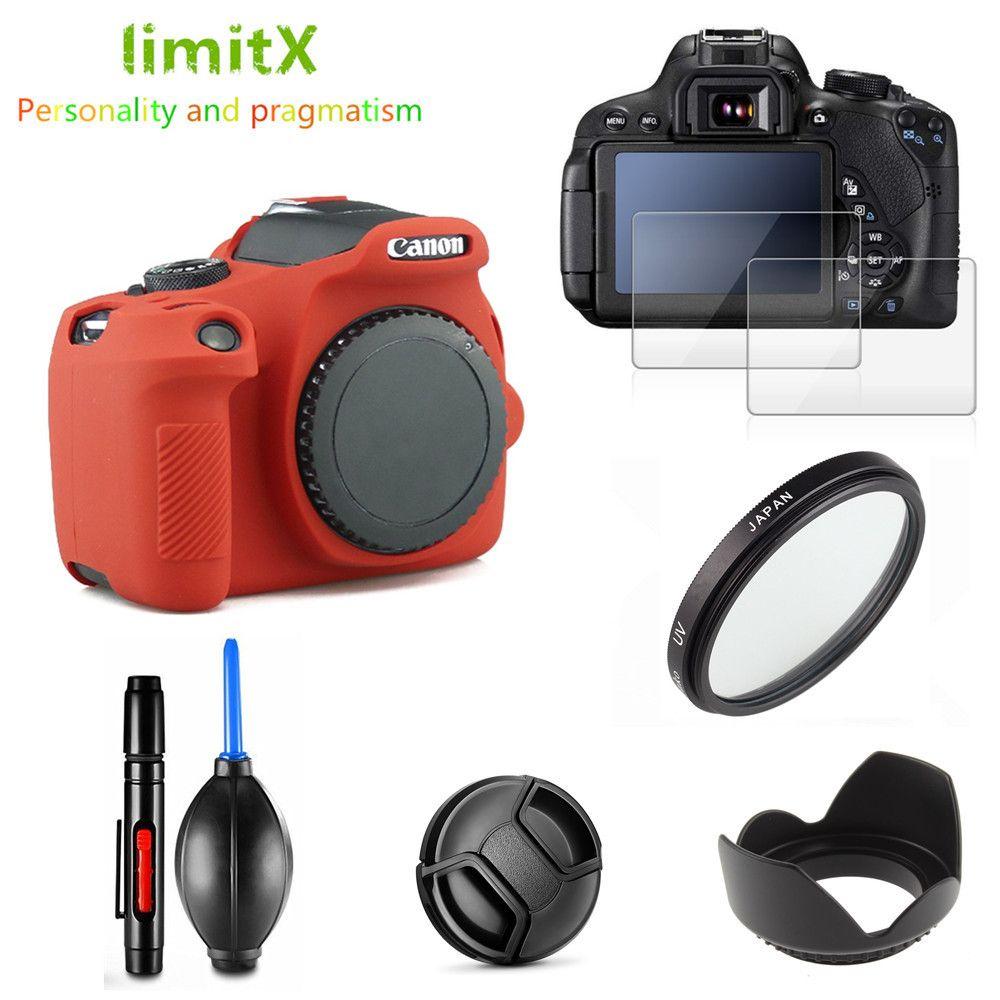 Cheap Camera/Video Bags Full Protect Kit Screen Protector Camera case bag UV Filter Lens hood Cap pen Blower for Canon EOS 2000D