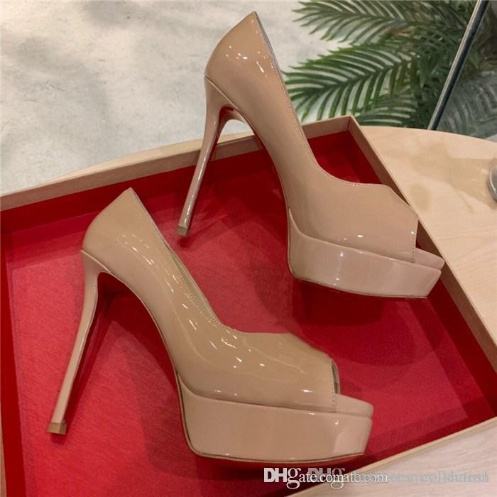 donne classiche scarpe dei tacchi alti della bocca dei pesci riflettenti tacchi alti di vernice sandali stiletto della piattaforma, con la confezione completa