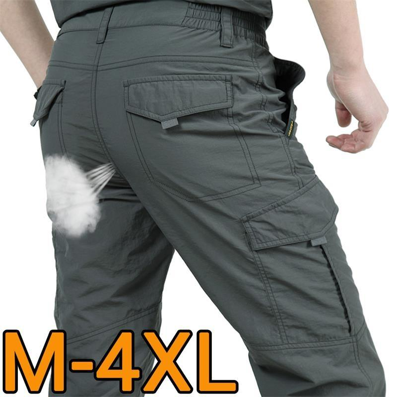 Multi Pocket Cargo Pants Men Work Breathable Quick Dry Army Men Pants Casual Summer Autumn Loose Military Tactical Trousers Male T200104