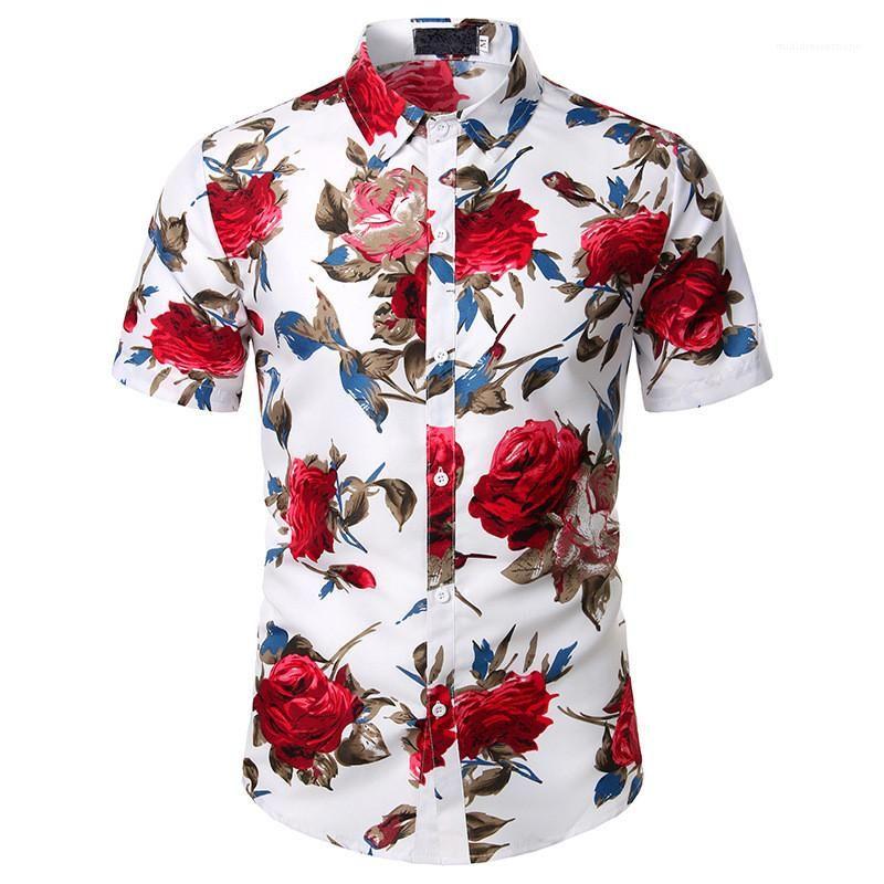 Sleeve Shirts Mens Clothes Designer Print Mens Casual Shirts Floral Print Fashion Shirts Natural Color Short