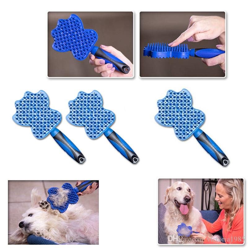 High quailityPet Cat Dog Hair Remover Brush Efficient Pet Grooming Comb Dog Cat Bath Cleaning Comb Removing Loose Hairs with Handle with box