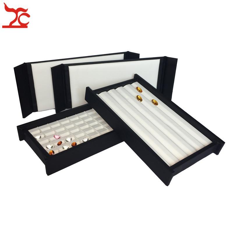 New Quality Mute Magnet Cover Superior Leather Diamond Display Box Mini Stone Storage Case Gemstone Jewelry Holder Organizer Travel Tray