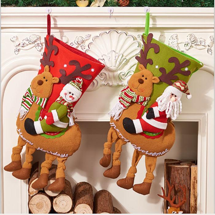2019 جودة عالية قماش كبيرة الحجم عيد الميلاد تخزين أكياس هدية قماش زينة عيد الميلاد الخيش الديكور الجوارب الأطفال هدية حقيبة