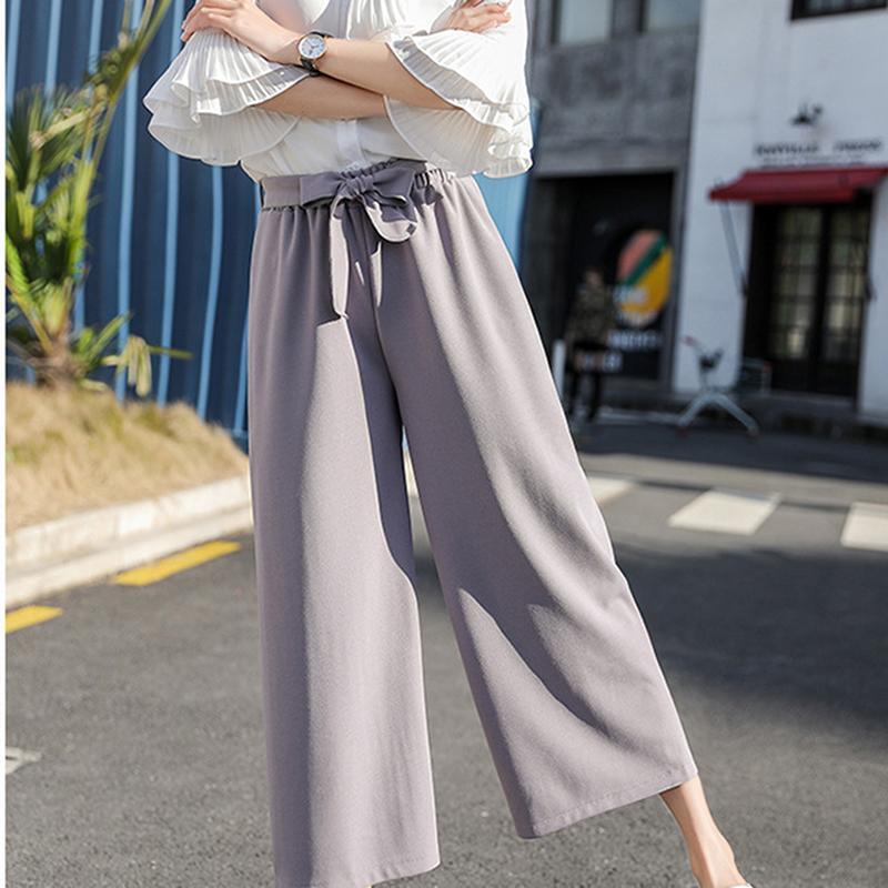 Korean Casual droite en vrac Large Nine Leg Stretchy point Pantalon taille haute élastique Pantalon à jambe large pantalon élégant