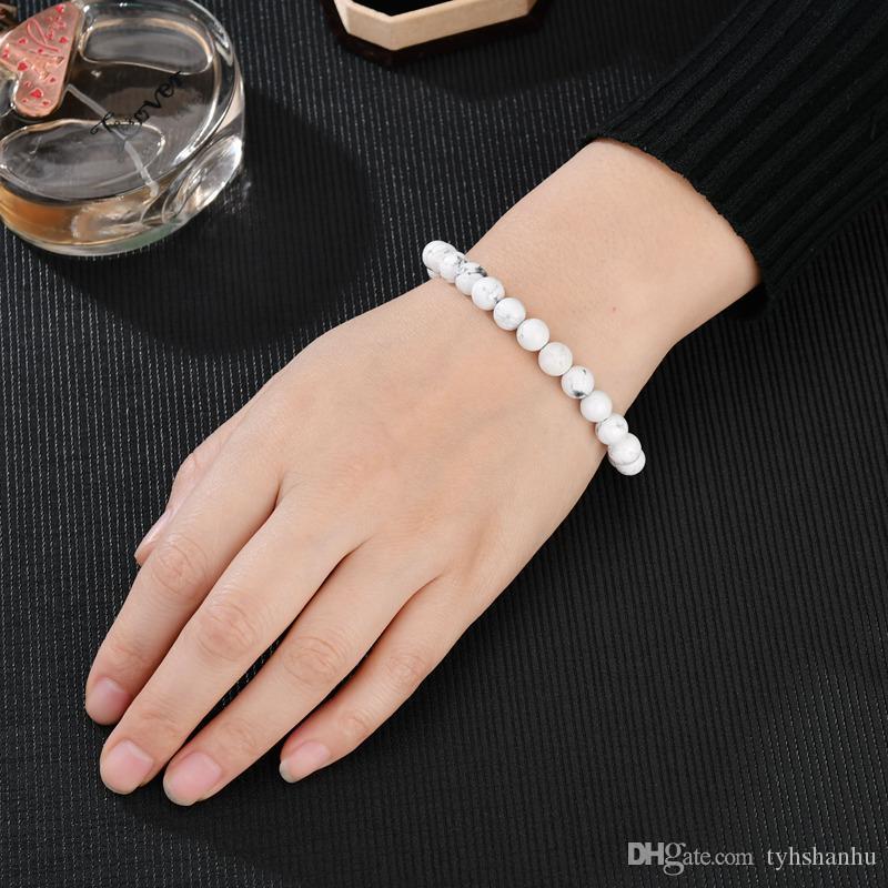 Mate lava Piedras pulseras del encanto de la nueva manera blanca negro natural Cuentas de piedra para los hombres de las mujeres BB269 joyería Yoga
