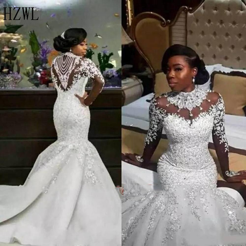 High Neck Luxury Crystals African Mermaid Wedding Dresses 2020 Zipper Back Long Sleeve Heave Beaded Bride Dress Vestido De Noiva