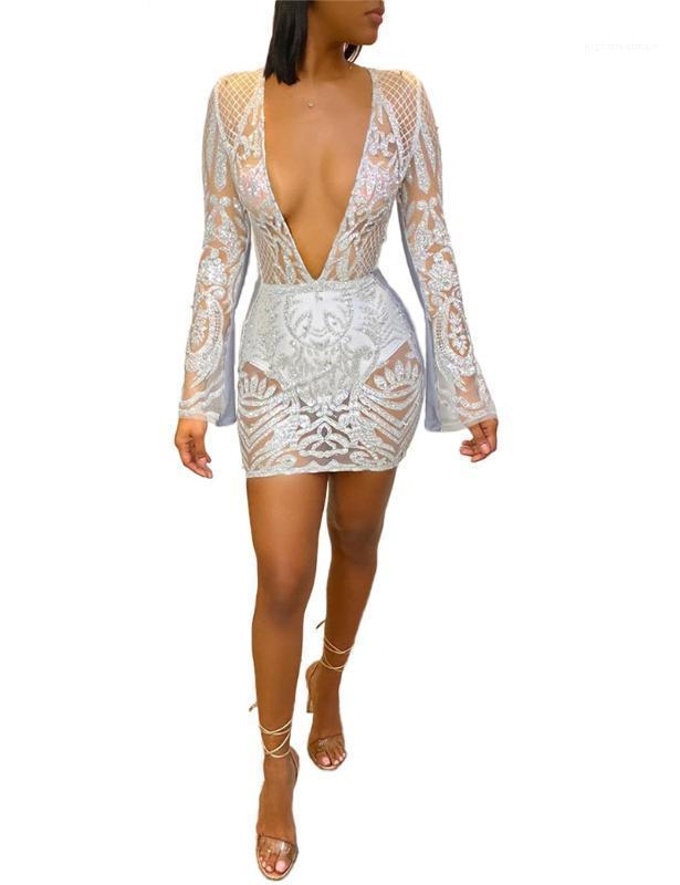 Deep V Neck Womens Designer Dresses Fashion Sequins Panelled Womens Designer Gauze Dresses Casual Females Clothing Sexy