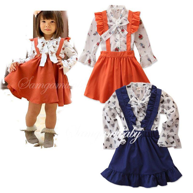 Filles robe à fleurs Bracelet Tout-petit bébé volantée Rose shirts d'enfants Vêtements de loisirs filles dentelle Princesse Robes Automne Jupe élastique solide 06