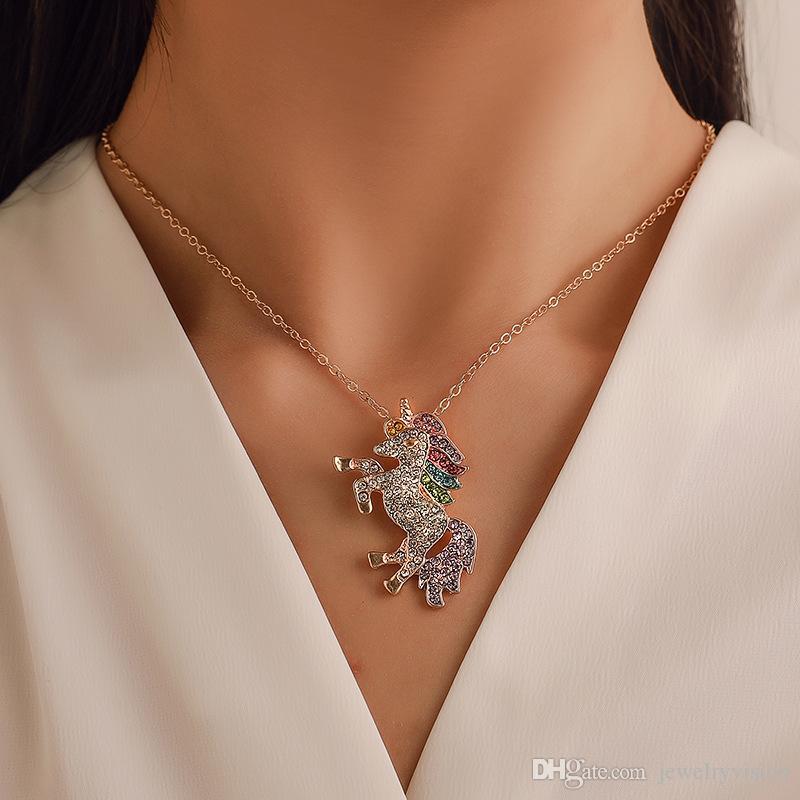 موضة جديدة مجوهرات ملونة من rhinstone يونيكورن قلادة المرأة قلادة المهر المختنقون قلادة S775