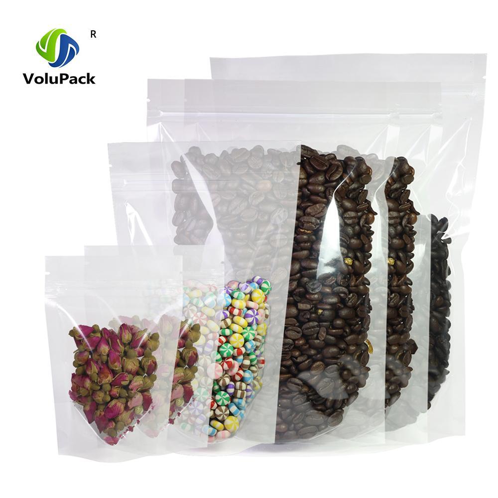 Vari formati 100pcs Riciclabile HDPE Mylar trasparente stand Storage Bag Pacchetto sacchetto di Sacchetti in plastica trasparente con serratura della chiusura lampo