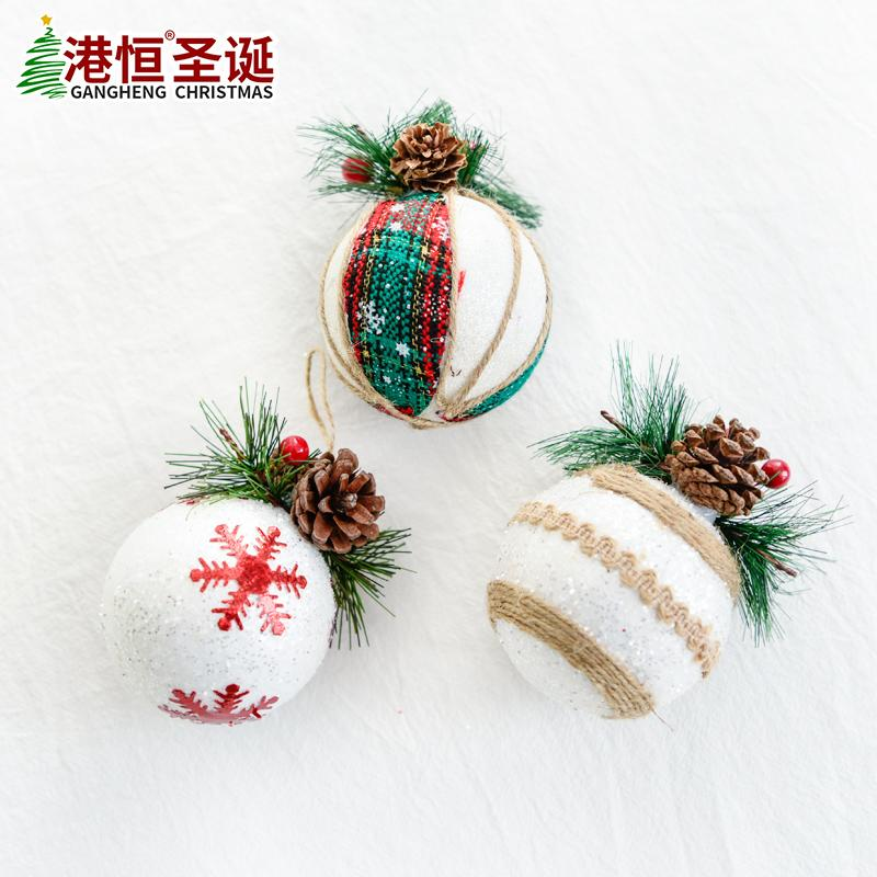 украшение кулон пены мяч 7.5 см белый Сосновый шишка хлопок и лен высокого класса мяч рождественские украшения висит
