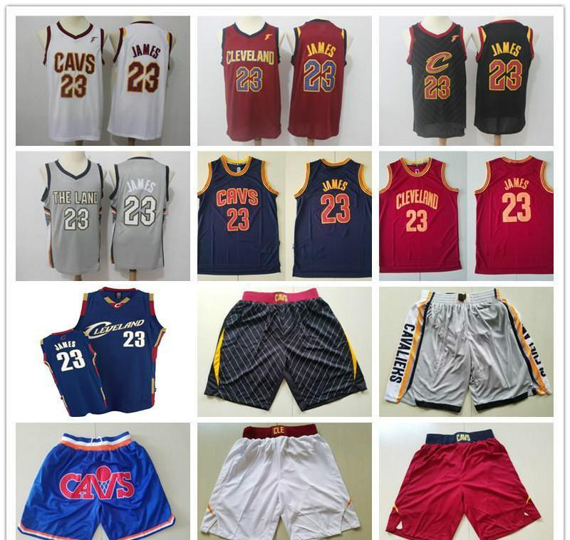 Mens ClevelandCavaliersThrowback Trikots LeBron James 23 Basketballshorts Basketball Jerseys gelb rot weiß blau grau