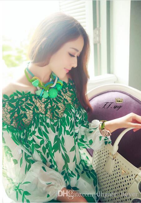 2019 Bahar içi boş yaprak bir kelime yaka omuz ipek baskılı bluz kadınlar şifon gömlek dantel gömlek