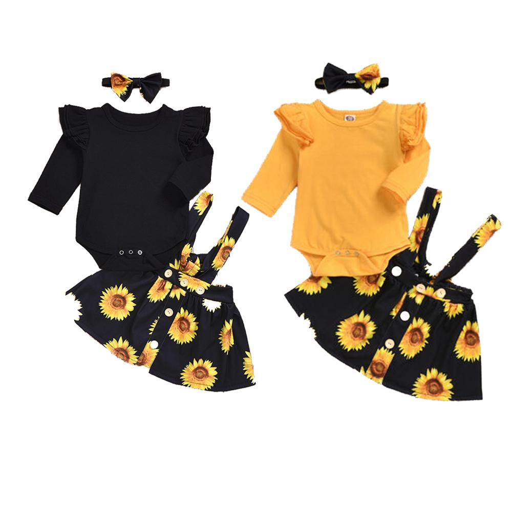 3PCS Infant Baby Girl Romper Tops Bow Shorts Pants Outfit Clothes Set 0-24months