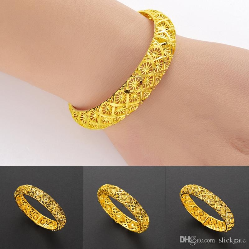 2019 Dubai Bangles Bracelet for Women Girls Middle East Gold Bangles Ethiopian Mesh Bracelets Wristband Wedding Jewelry Gifts M772F