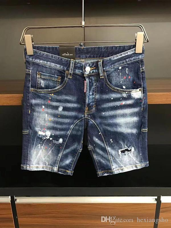 jeans 2020 FW nova chegada dos homens designer de alta qualidade bordado calças moda calças rasgada Tamanho EUA 28-38
