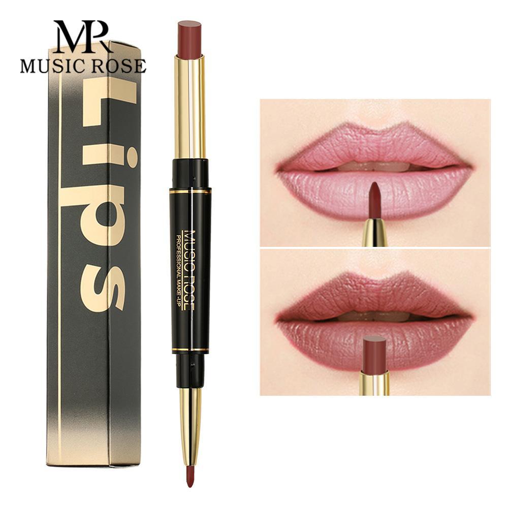MUSIC ROSE Lipstick Matte Long Lasting Lipstick Lip Line Makeup Beauty Women Sexy Lip Easy To Wear Waterproof Makeup Gift Women
