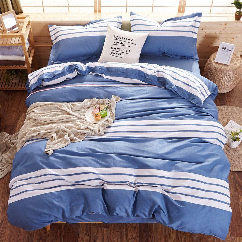 Ensembles de couvertures de couette rayés blanc-bleu pour les enfants adultes de lit simple double lit 6 tailles 100% coton ensembles de literie XF641-35