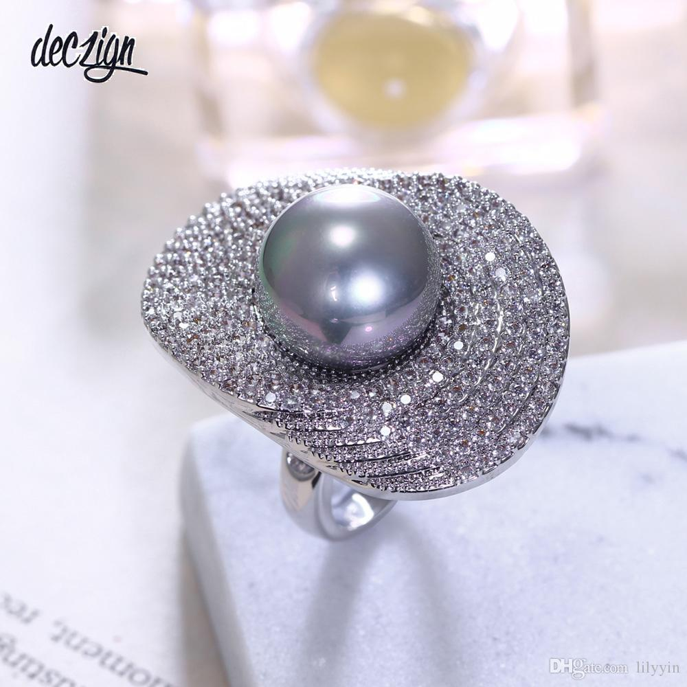 Deczign new rings with 2 colors 14 mm shell pearl for women Ladies wholesale jewelry Flower Lotus leaf Fashion crystal large ring SJ12291