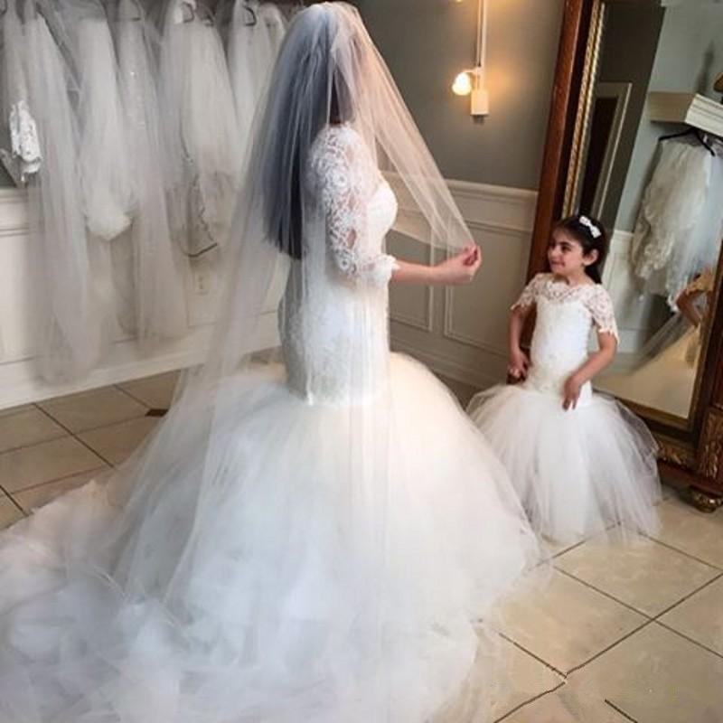 Dantel Mermaid Çiçek Kız Elbise Yeni 2020 Kat Uzunluk Moda Düğün Yarışması Gelinlikler Şeffaf Kısa Kollu Tül Modern Lovely Coming
