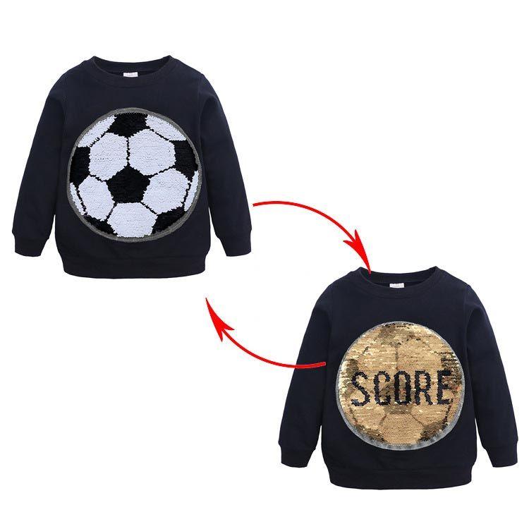 New Spring Fall Boy Kids Clothing T shirt Football Paillette Design Long Sleeve Cool T shirt Kids Clothes