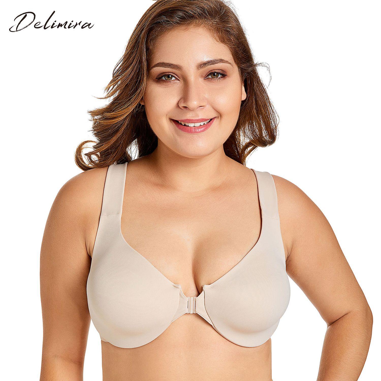 de Delimira Mulheres New Seamless Cobertura completa Não acolchoado Encerramento Frente Bra Y200415