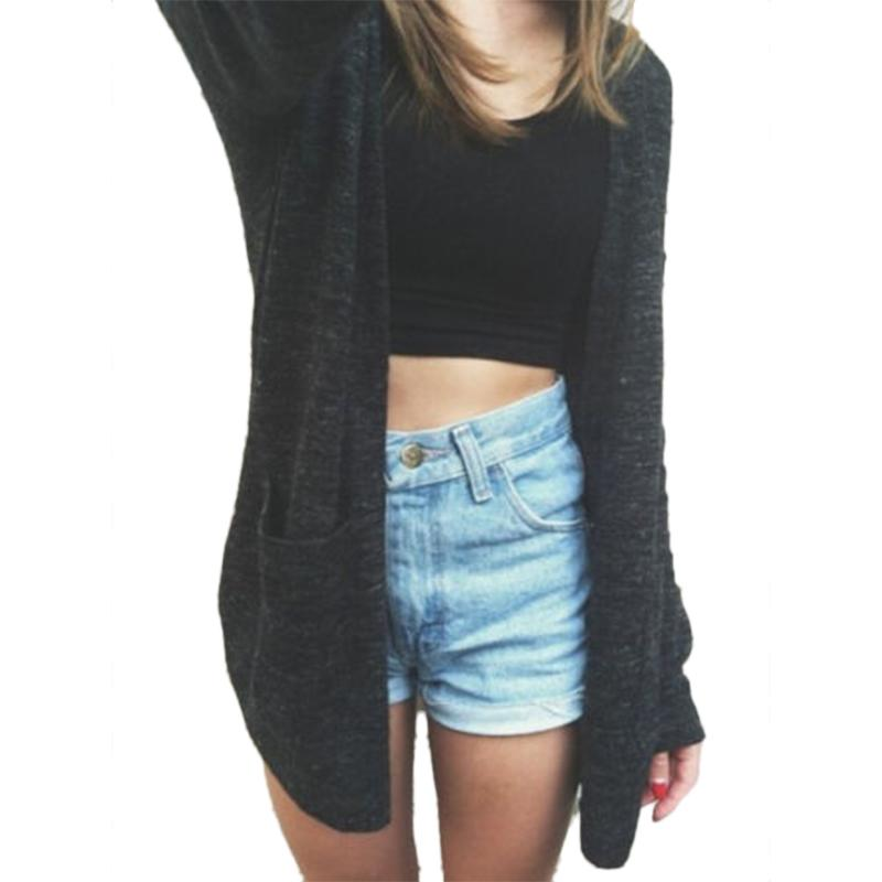 Hot Fashion Women Girls Solid Black Knitwear Cardigan Long Sleeved Loose Casual Sweater Jacket Clothes Outwear Coat