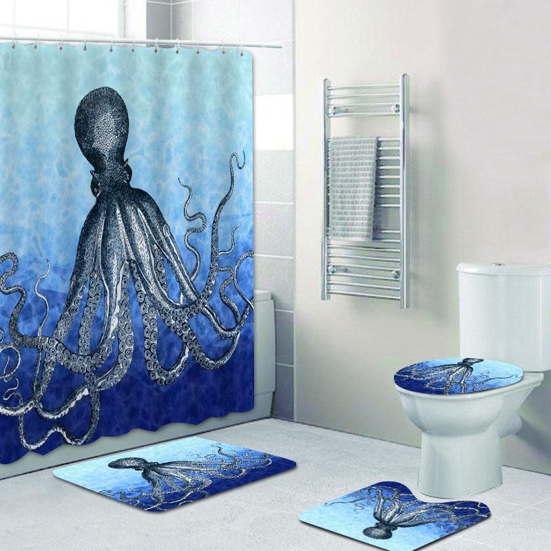 Trendy Aqua Blu Navy Octopus Shower Curtain Set Bella Deep Sea Octopus Bagno Tende per Bagno Bat Mats Rugs Home Decor