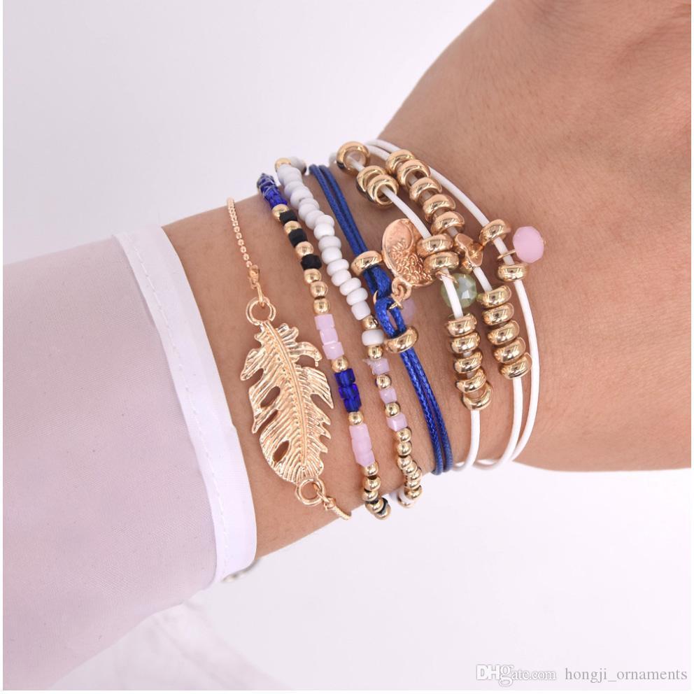 strati più braccialetto bianco perla acrilico colore blu dell'oro nero con corda corda Albero fascino foglia