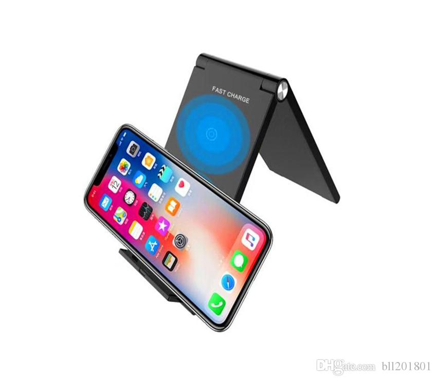 Qi Wireless Charger High Quality Adjustable Folding Holder Portable Stand Dock Fast charger 10W For Samsung S9 S8 Note 8 Iphone X XS DHL 50X