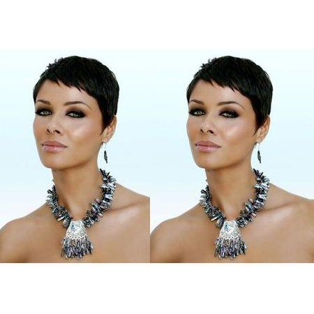 nouvelle coiffure de dame droite courte noir perruques Africain Américain Cheveux Brésiliens Simulation de Cheveux Humains Perruque courte